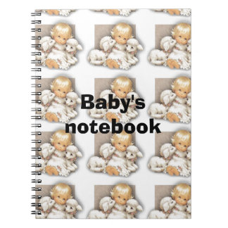 Child with lamb notebooks