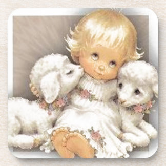 Child with lambs drink coasters