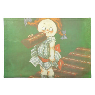 Child with large chocolate bAR French vintage ads Cloth Placemat