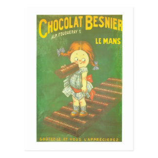 Child with large chocolate bAR French vintage ads Post Card