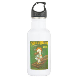 Child with large chocolate bAR French vintage ads Water Bottle
