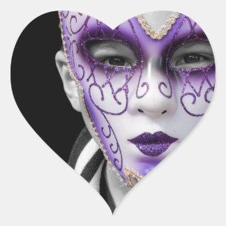Child with Purple Ceramic Mask Heart Sticker