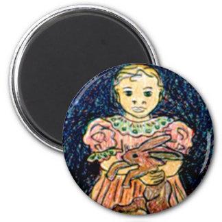 Child with Rabbit 2 Inch Round Magnet