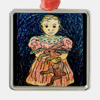 Child with Rabbit Christmas Tree Ornament