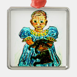 Child with Rabbit Christmas Tree Ornaments