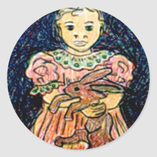 Child with Rabbit Classic Round Sticker