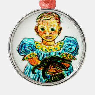 Child with Rabbit Metal Ornament