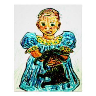 Child With Rabbit Poster