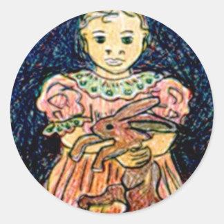 Child with Rabbit Round Stickers