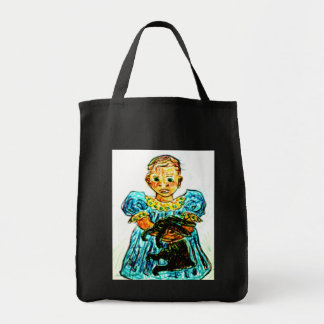 Child with Rabbit Tote Bag
