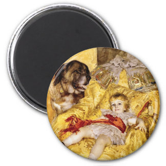 Child with Saint Bernard: Art by Anders Zorn, 1884 2 Inch Round Magnet