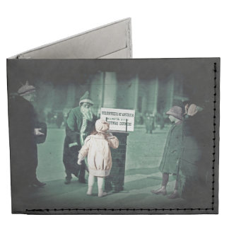 Child with Santa During Great Depression Billfold Wallet