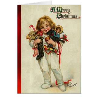 CHILD WITH TOYS AND CHRISTMAS GIFTS CARD
