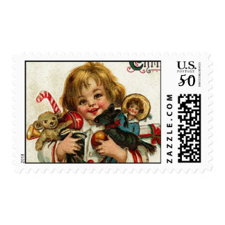 CHILD WITH TOYS AND CHRISTMAS GIFTS POSTAGE