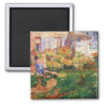 Childe Hassam - A fishing hut Gloucester 2 Inch Square Magnet