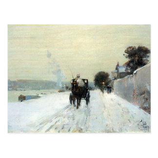 Childe Hassam - Along the Seine Winter Postcard