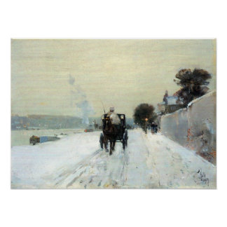 Childe Hassam - Along the Seine, Winter Poster