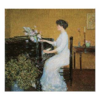 Childe Hassam - At the piano Poster