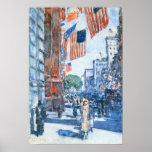 Childe Hassam - banderas, Quinta Avenida Poster