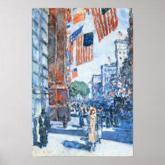 Childe Hassam - banderas, Quinta Avenida Póster