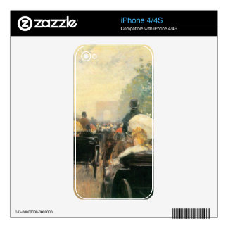 Childe Hassam - Carriage Parade iPhone 4 Skin