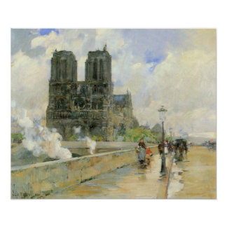 Childe Hassam - Cathedral of Notre Dame, 1888 Poster