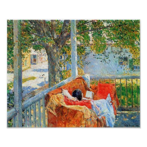 Childe Hassam - Couch and Veranda at Cos Cob Poster
