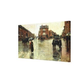 Childe Hassam - día lluvioso, Boston Impresión En Lienzo