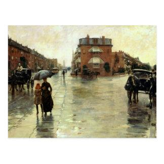 Childe Hassam - día lluvioso Boston Tarjeta Postal