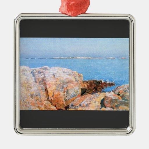 Childe Hassam - Duck island Square Metal Christmas Ornament
