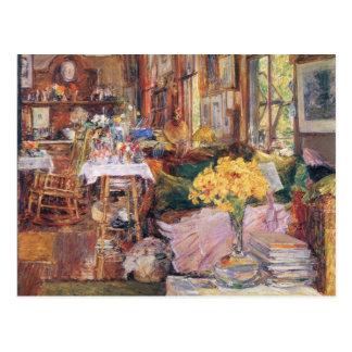 Childe Hassam - el cuarto de flores Postales