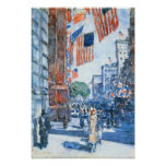 Childe Hassam - Flags, Fifth Avenue Poster