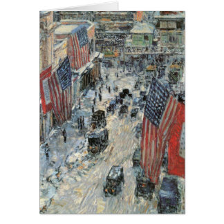 Childe Hassam - Flags on Fifth Avenue Winter 1918 Greeting Card