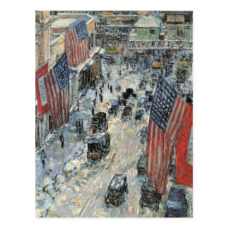 Childe Hassam - Flags on Fifth Avenue Winter 1918 Postcard