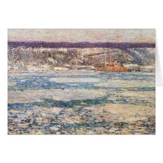Childe Hassam - hielo en el río Hudson Felicitaciones