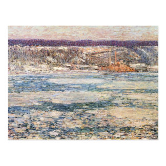 Childe Hassam - hielo en el río Hudson Tarjeta Postal