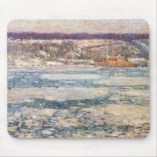 Childe Hassam - Ice on the Hudson River Mouse Pad