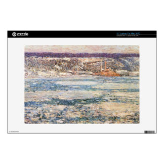 Childe Hassam - Ice on the Hudson River Skins For Laptops