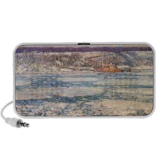Childe Hassam - Ice on the Hudson River Travelling Speaker