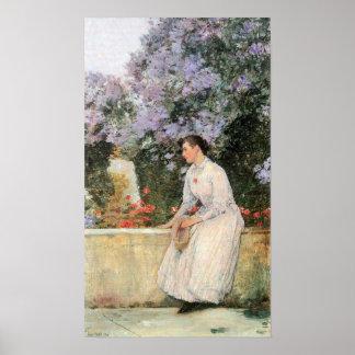 Childe Hassam - In the garden Poster