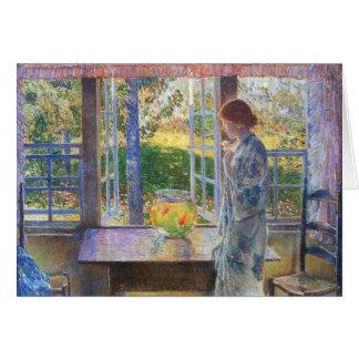 Childe Hassam - la ventana del Goldfish Tarjeta Pequeña