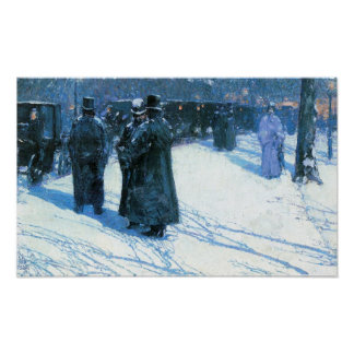 Childe Hassam - Nighttime, Madison Square Poster