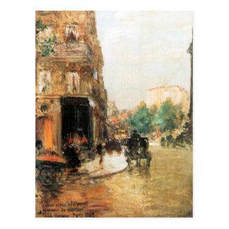 Childe Hassam - Parisian street scene Postcard