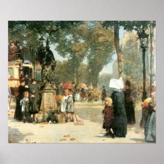 Childe Hassam - Parisian street scene Poster