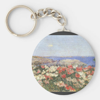 Childe Hassam - Poppies on the Isles of Shoals Basic Round Button Keychain
