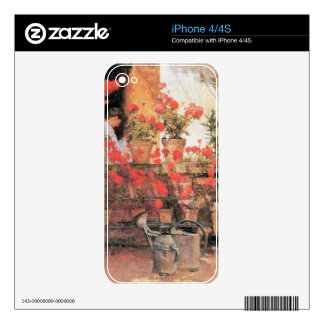 Childe Hassam - Red Geraniums iPhone 4 Decals