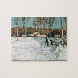 Childe Hassam - Snow shovels New England puzzle