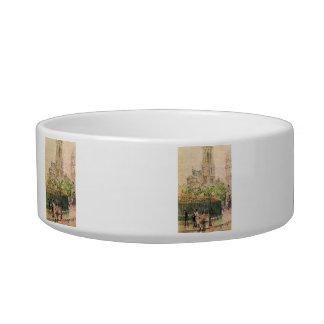 Childe Hassam - St Germain l`Auxerrois Cat Water Bowls