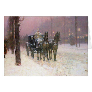 Childe Hassam - Street scene with two cabs Cards
