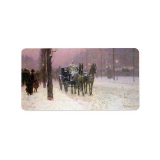 Childe Hassam - Street scene with two cabs Custom Address Label